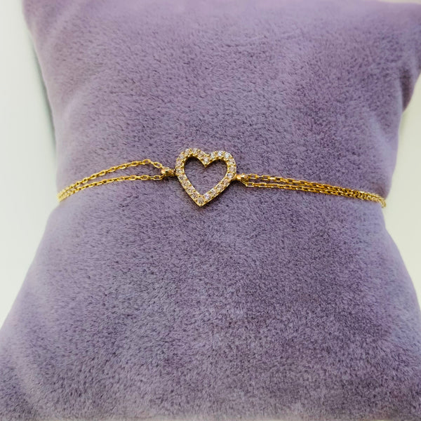 Gold Plated Cute Heart Sterling Silver Bracelet