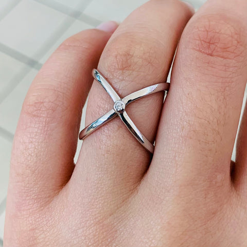 X Shape Sterling Silver Ring