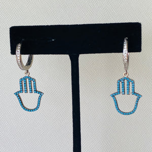 Dangling Turquoise Hamsa Earrings