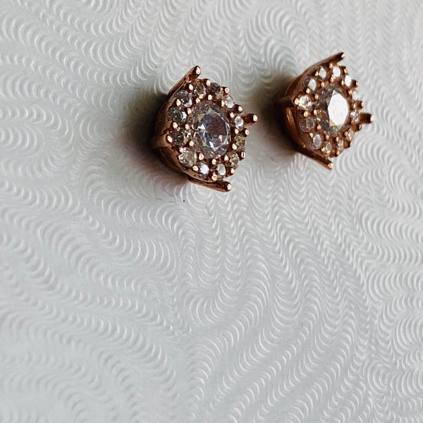 Handmade Cubic Zirconia Stud Sterling Silver Silver Color Earring