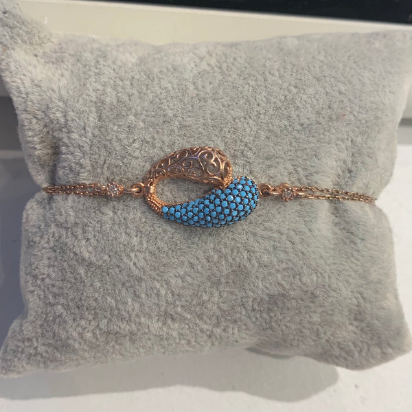 Handmade Turquoise Sterling Silver Rose Gold Color Bracelet