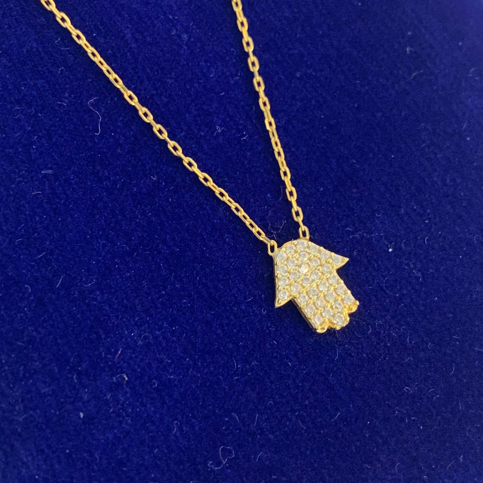 Handmade gold Hamsa pendant necklace