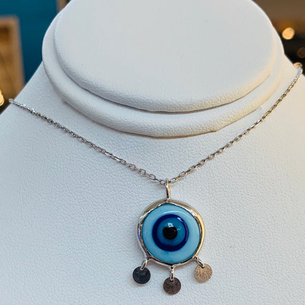 Turkish Eye glass necklace