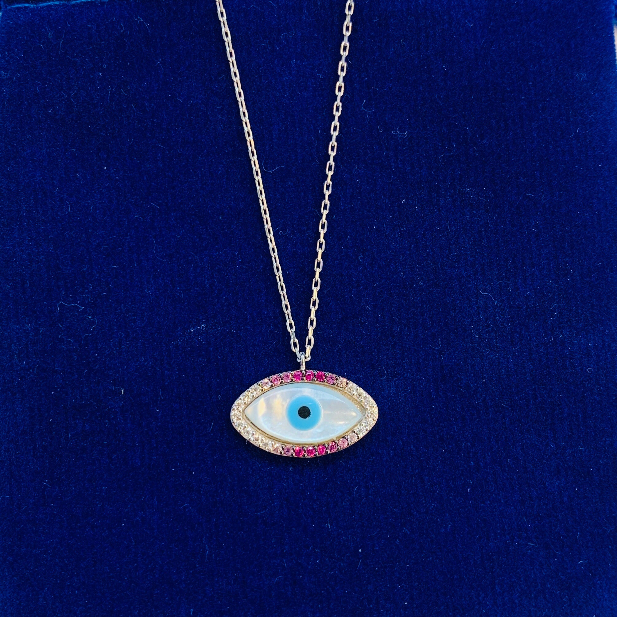Handmade sterling silver eye shape Necklace