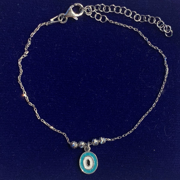 Handmade Simple Small Evil Eye Sterling Silver Silver Color Bracelet
