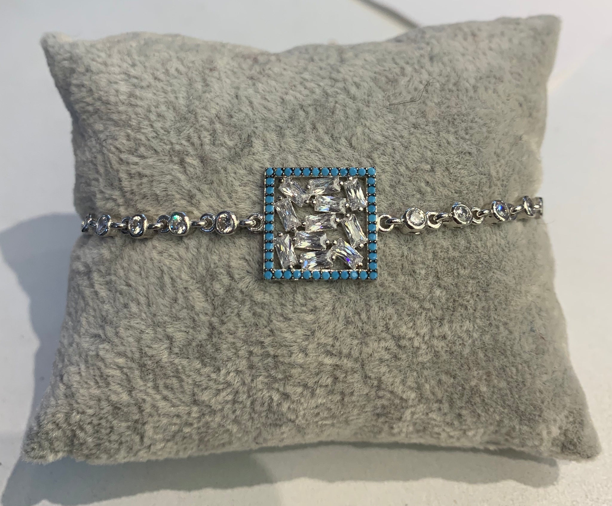 Handmade Square Turquoise Baguette Beads Sterling Silver Silver Color Bracelet