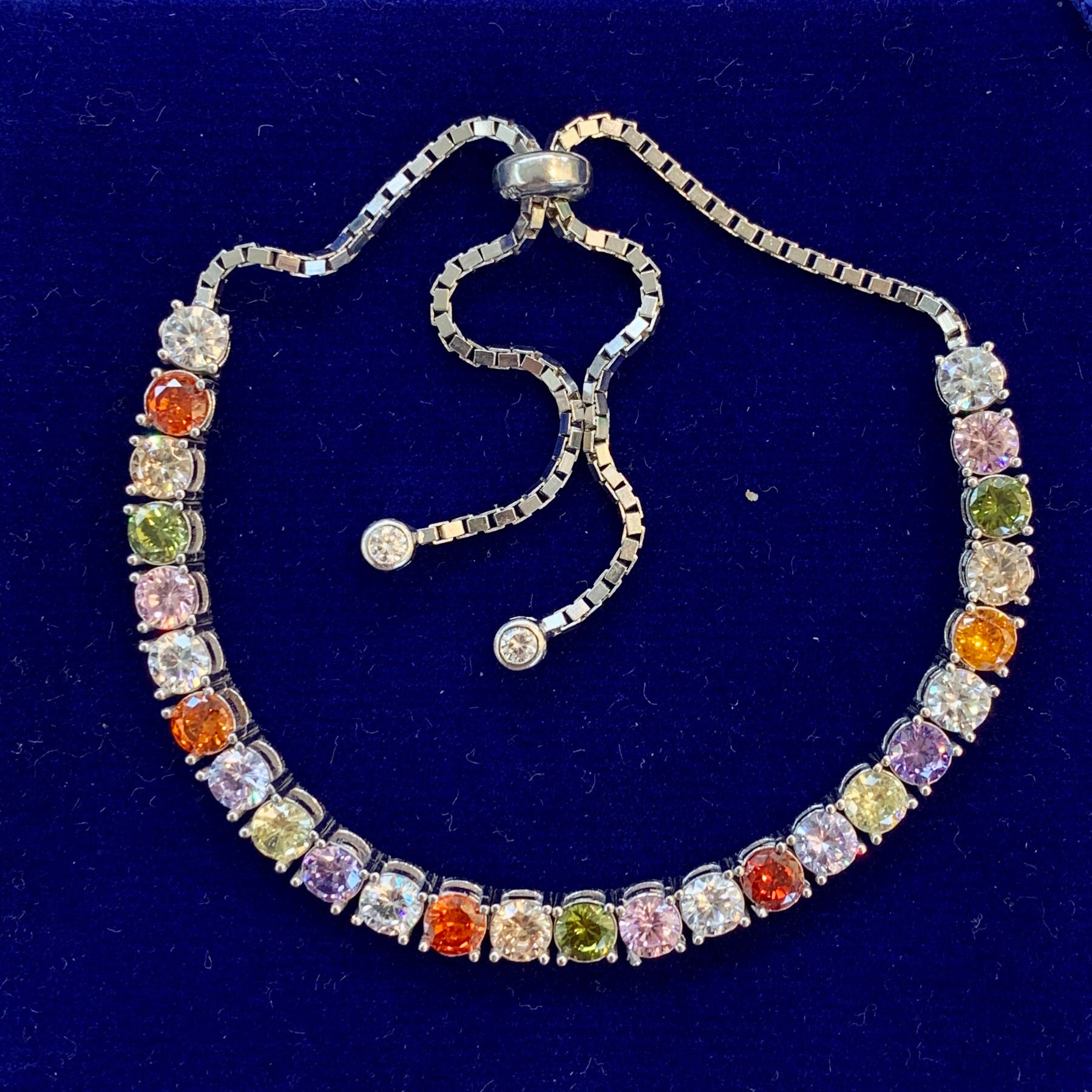 Handmade Multicolor Square Tennis Bracelet