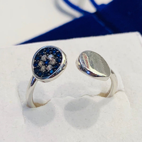 Handmade Waved Evil Eye Sterling Silver Silver Color Ring
