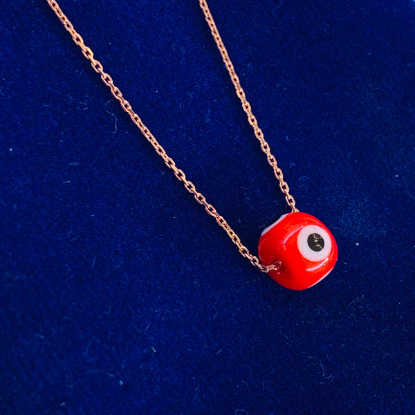 Red Evil Eye Bead Necklace