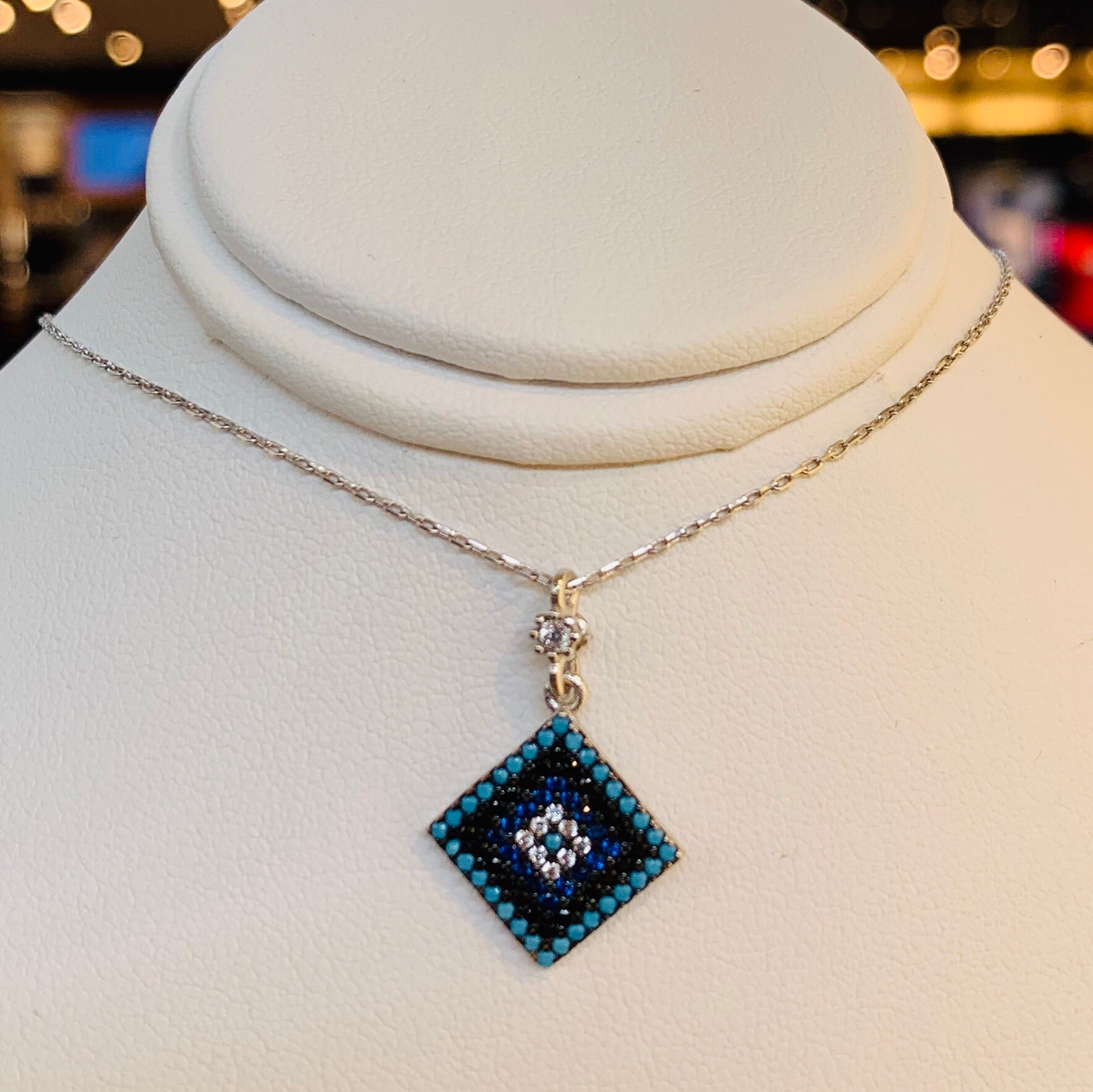 Blue Square Eye necklace