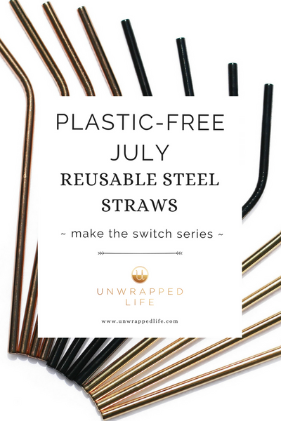 Plastic-free July. Ditch single-use plastic straws and replace them with Unwrapped Life's reusable steel straws in gold, rose gold, onyx black for a zero-waste and eco-friendly sipping experience!