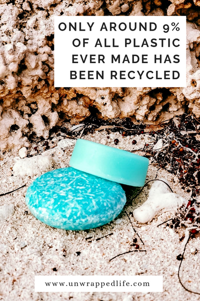 Read Unwrapped Life's blog to learn information about plastic recycling rates and why you should make the switch to plastic-free shampoo bars and conditioner bars this Plastic-Free July.