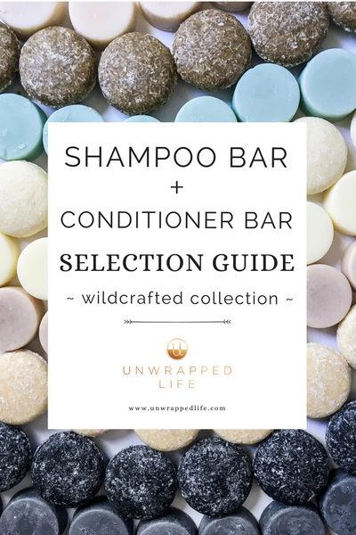 Shampoo bar selection guide for the Wildcrafted Collection of solid hair bars from Unwrapped Life.