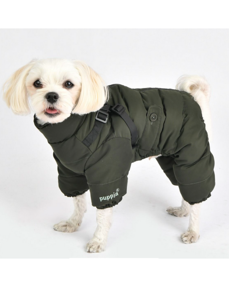 Ultra Light Soft Dog Puffer Onesie with Harness in Dark Khaki