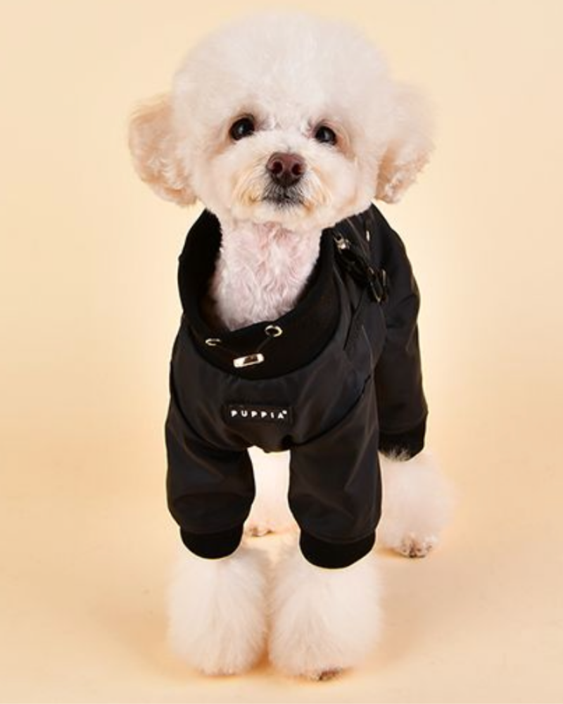 Garnett Winter Fleece Onesie with Harness in Black