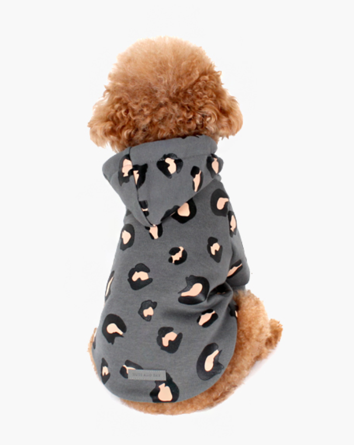 Grey Leopard Hoodie for Dogs