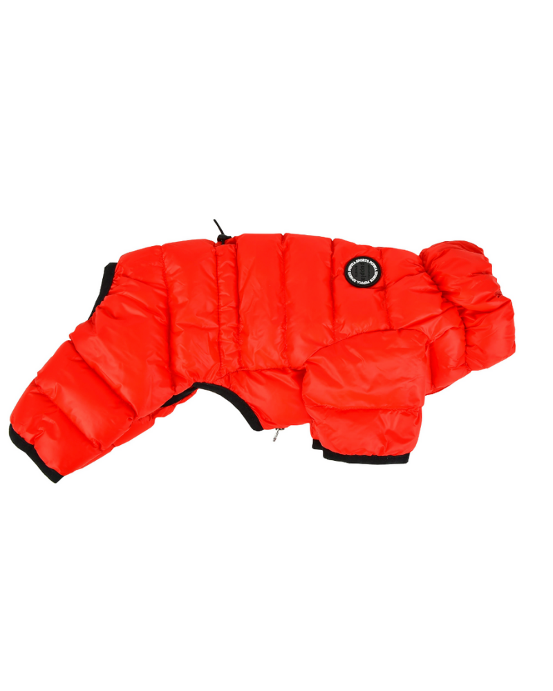 Ultra Light Winter Puffer Jumpsuit in Red