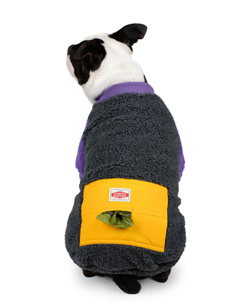 Tripper Nubbly Fleece Dog Pullover in Grey