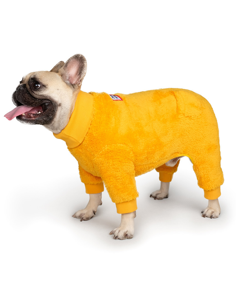Monster Fleece Warmer Dog Onesie in Yellow