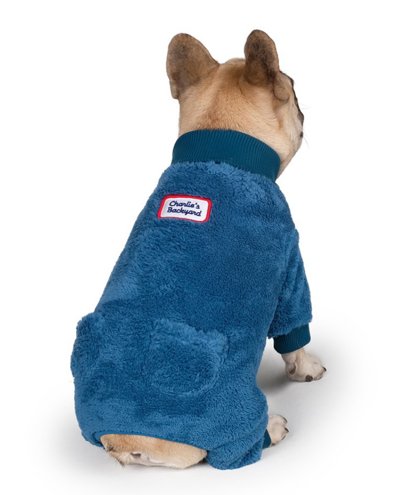 Monster Fleece Warmer Dog Onesie in Teal