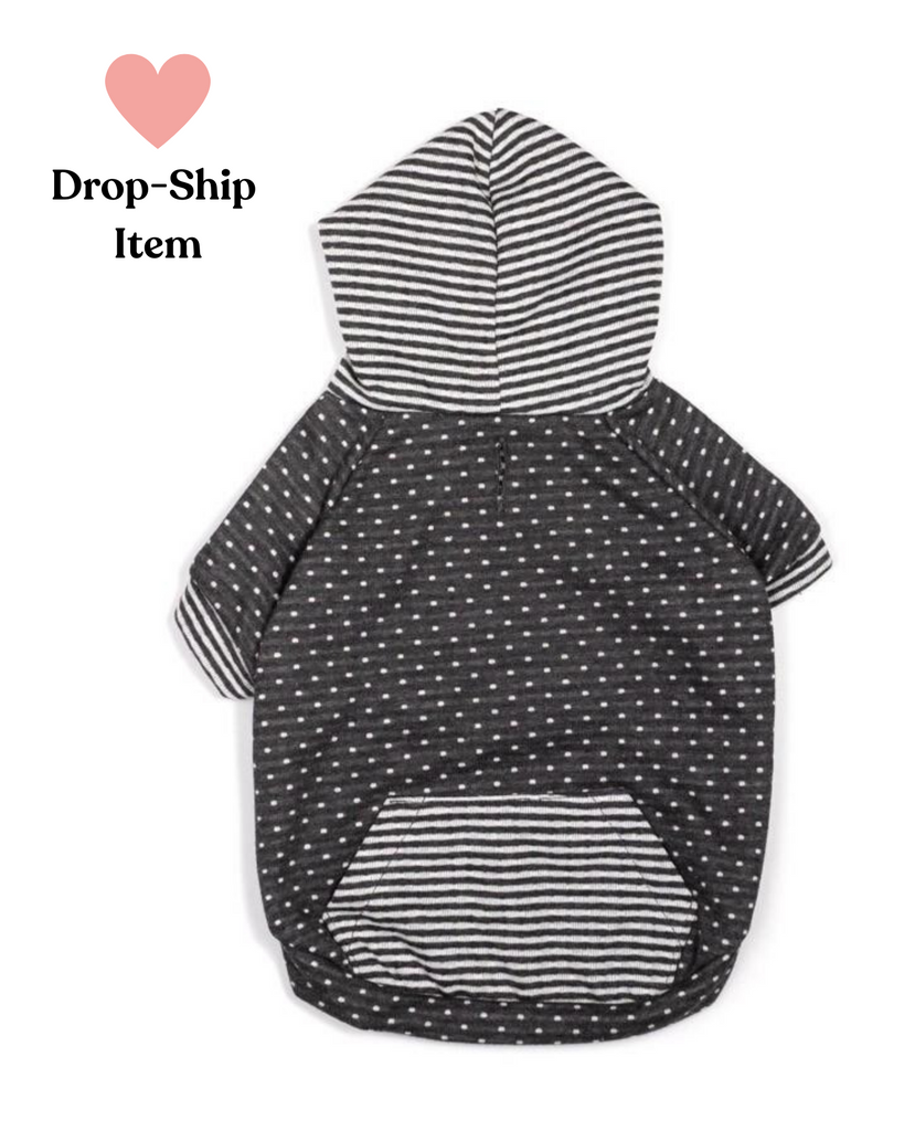 Grey Dot & Stripe Hoodie (Drop-Ship)