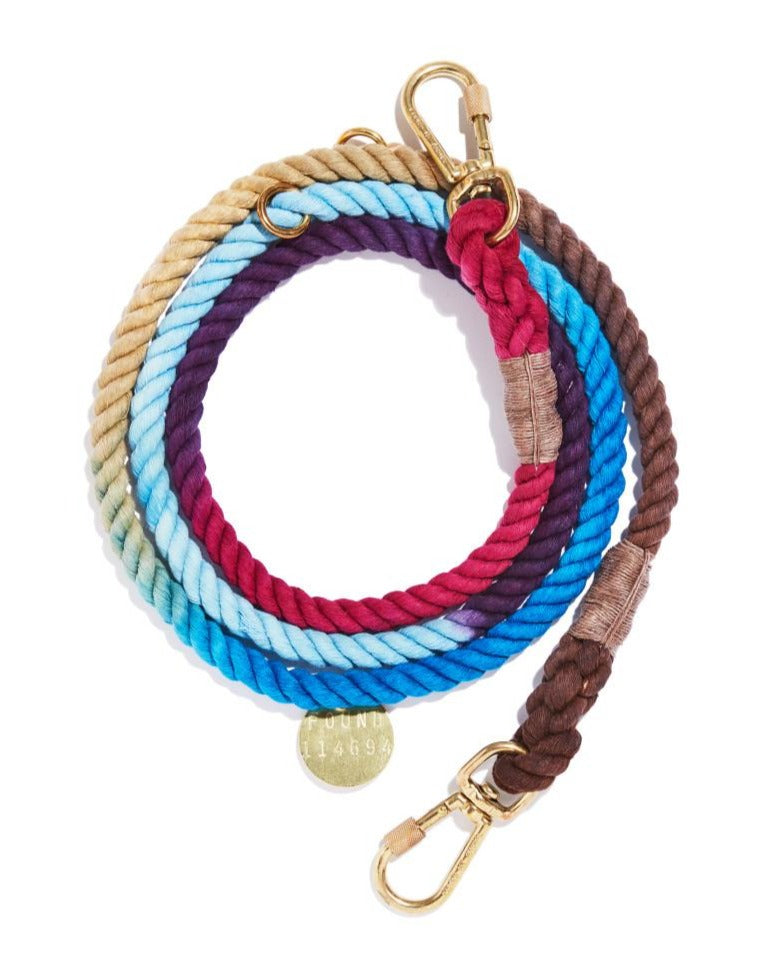 Adjustable Rope Dog Lead in Mood Ring (Made in the USA)