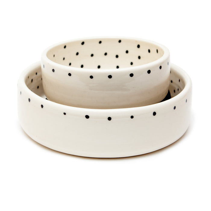 BTW CERAMICS | Dots Dog Bowl in Black + White (Dog & Co. Exclusive)