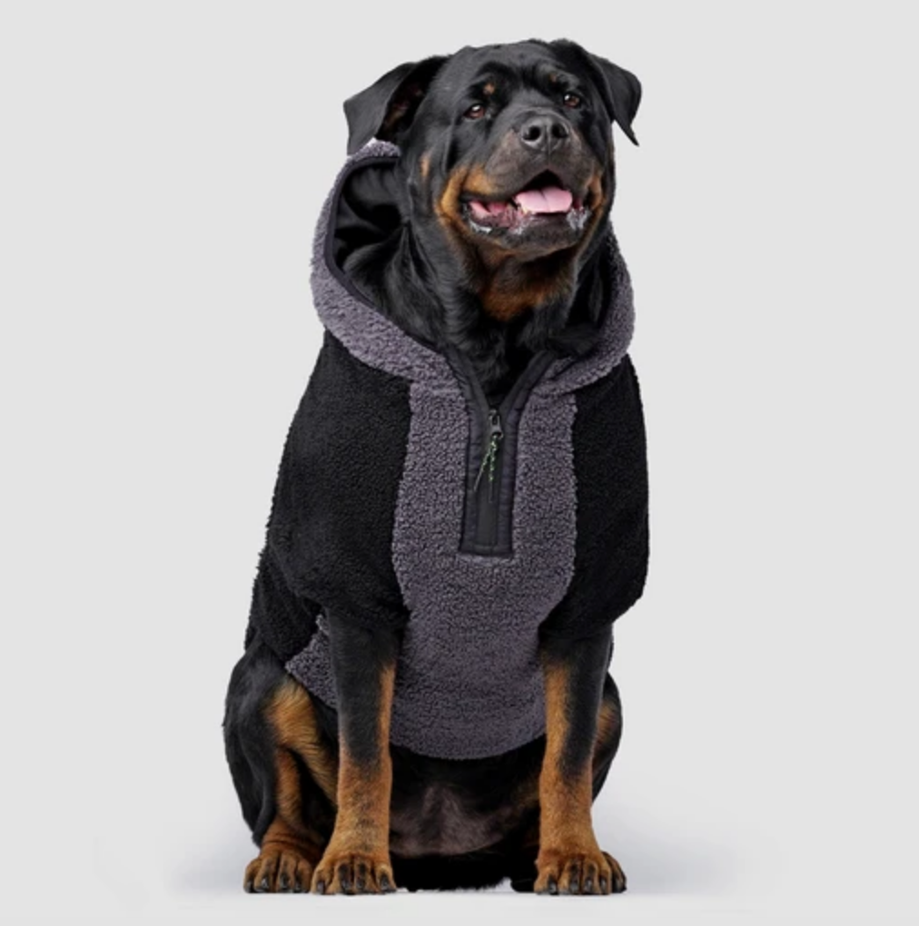 Cool Factor Fleece Dog Hoodie in Black & Grey