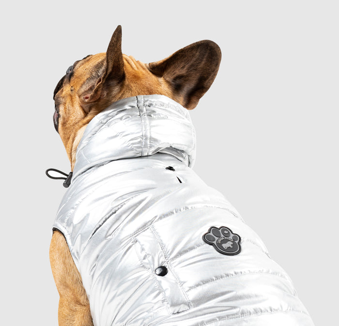 CANADA POOCH | Shiny Puffer Vest in Silver
