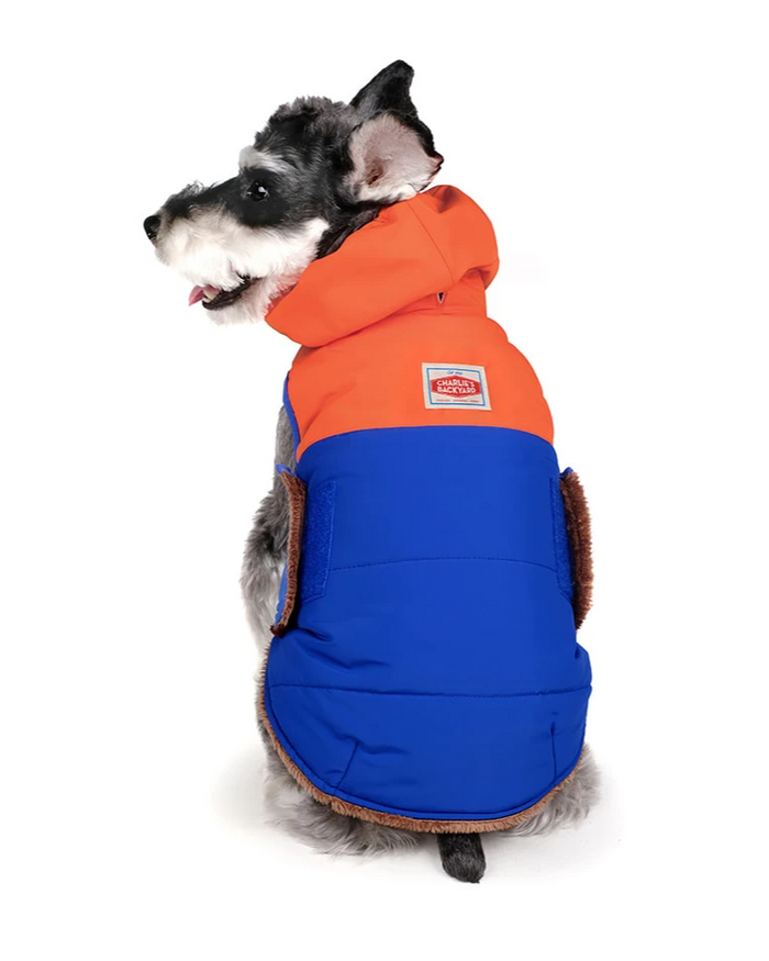 CHARLIE'S BACKYARD | Turtle Padding Jacket in Orange and Blue