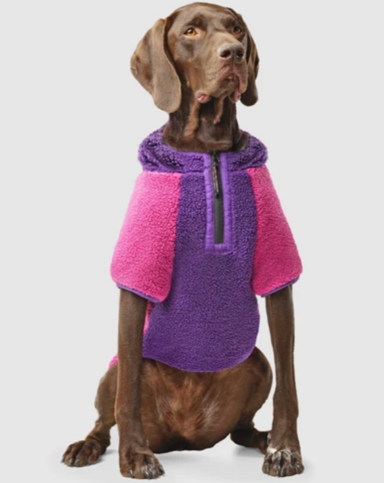 Cool Factor Fleece Dog Hoodie in Pink & Purple
