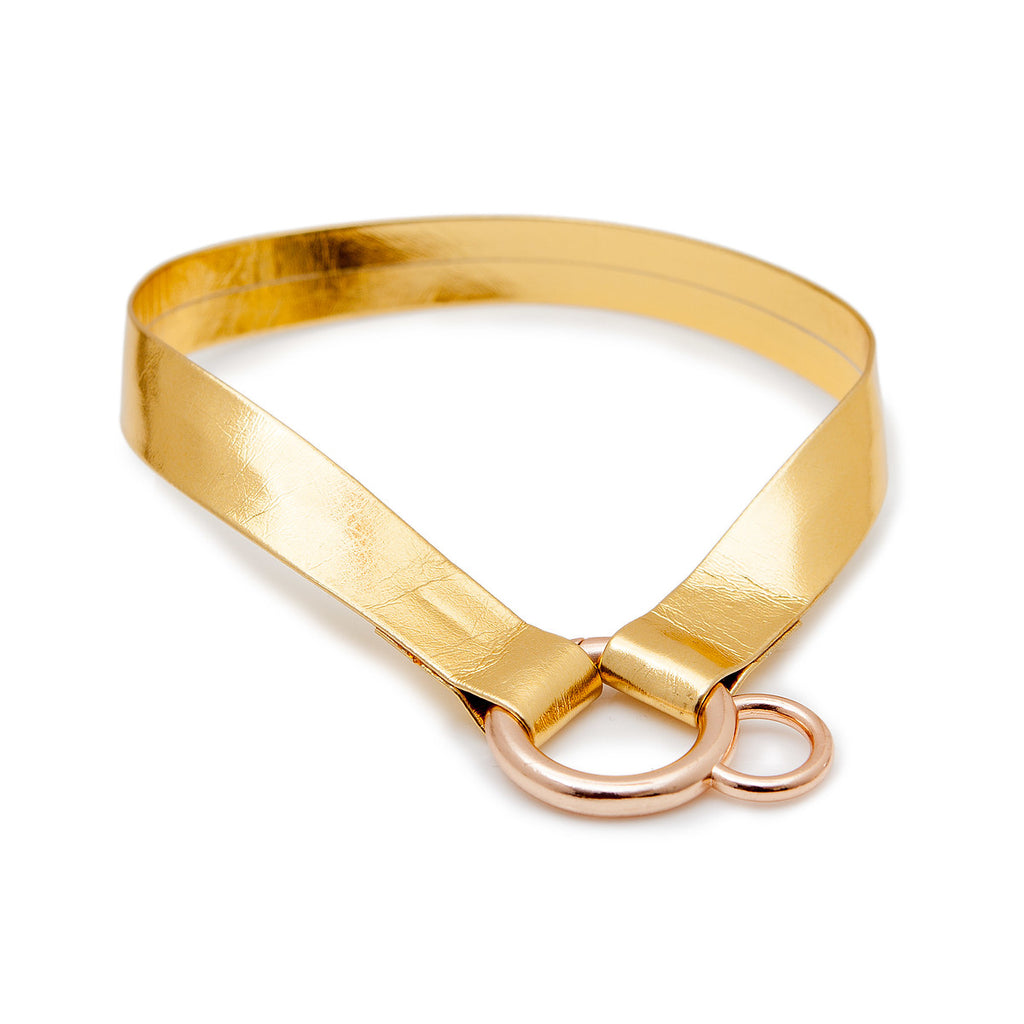 DNY | Choker Tag Holder in Metallic Gold
