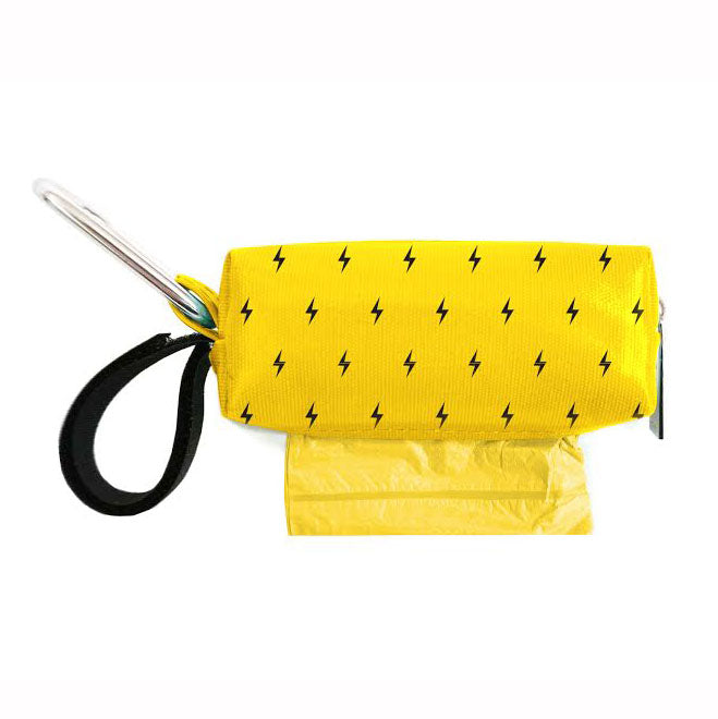 Yellow with Black Bolts Waste Bag Dispenser
