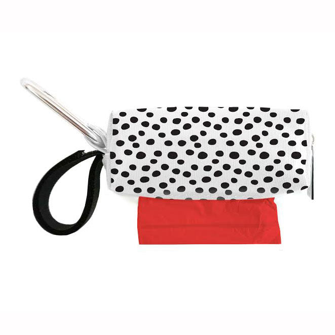 White with Black Spots Waste Bag Dispenser
