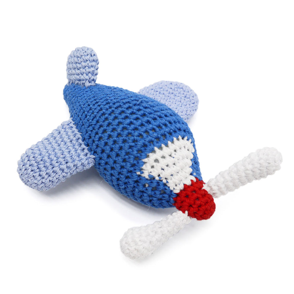 Airplane Squeaky Knit Dog Toy