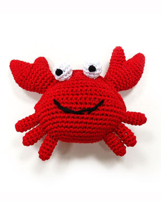Crab Squeaky Knit Dog Toy