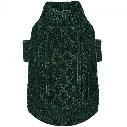 DOGS & CATS & CO. | Cozy Chenille Sweater in Dark Green
