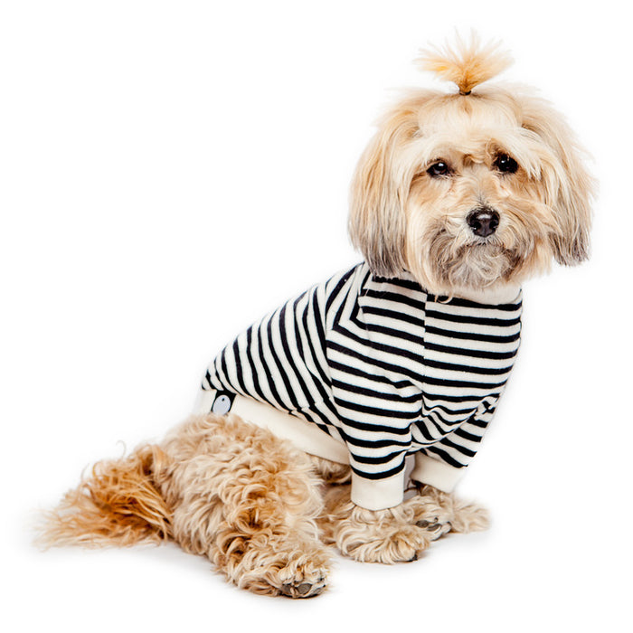 DOG & CO. | Cheeky Stripe Pullover in Black & White