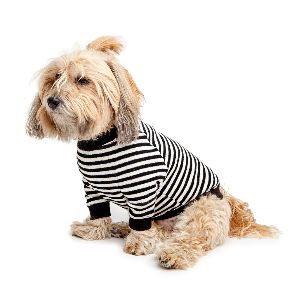 Cheeky Stripe Pullover in Black & White with Black Trim
