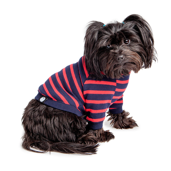 DOG & CO. | Cheeky Stripe Pullover in Wide Navy & Red Stripe