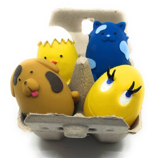 Squeaky Egg Latex Dog Toy Carton