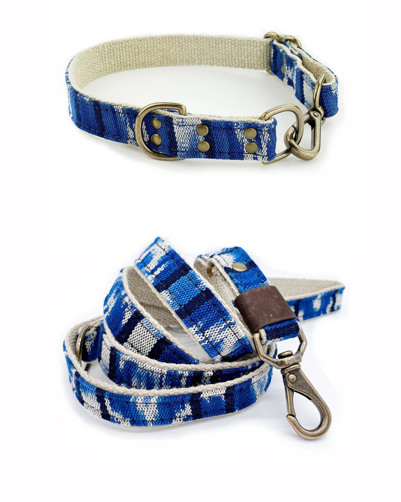 Brilliant Blue Ikat Leash & Collar Set (Drop-Ship)