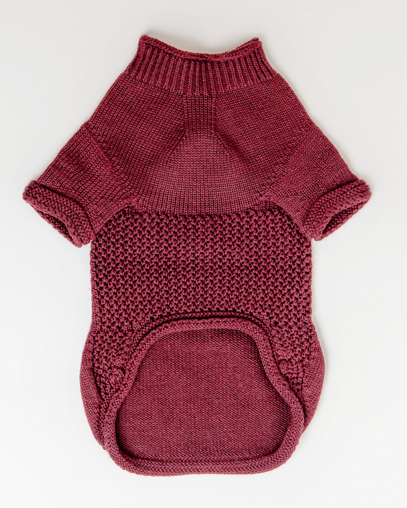 The Mabel Dog Sweater in Wine (FINAL SALE)