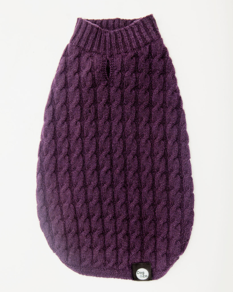 The Topo Cashmere Cable Knit in Blackcurrant