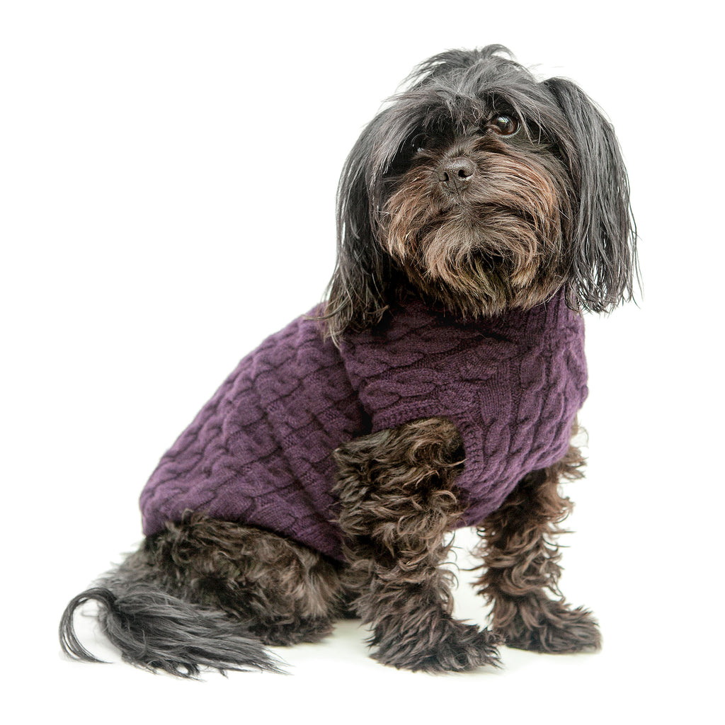 The Topo Cashmere Cable Knit Dog Sweater in Blackcurrant (FINAL SALE)