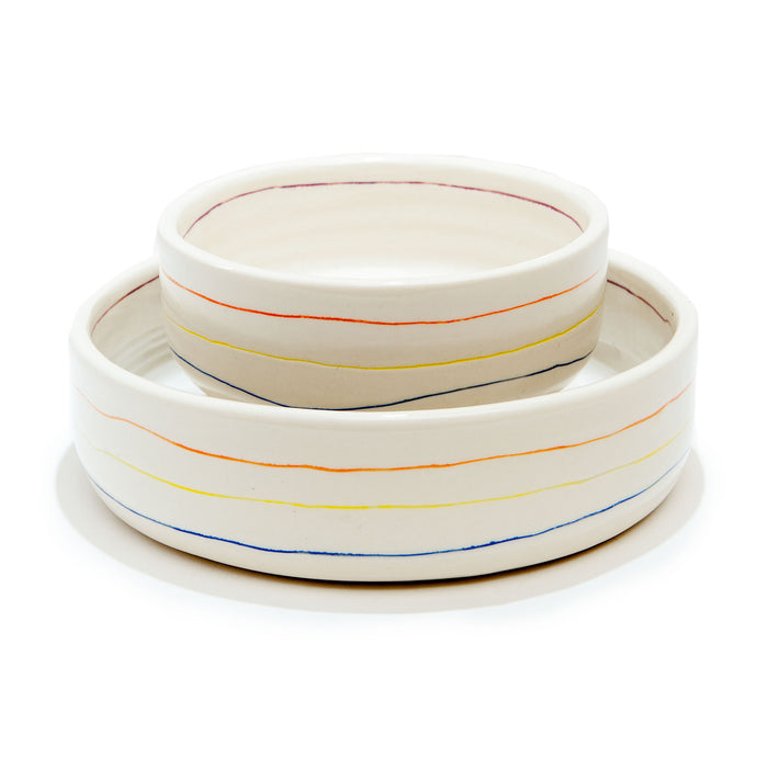 BTW CERAMICS | Colorful Stripe Bowl (Dog & Co. Exclusive)