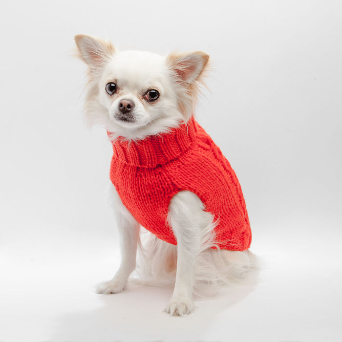 WORTHY DOG | Hand Knit Turtleneck Sweater in Electric Papaya (Dog & Co. Exclusive)