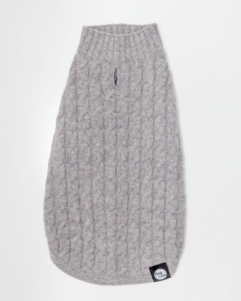 The Topo Cashmere Cable Knit in Brume Grey