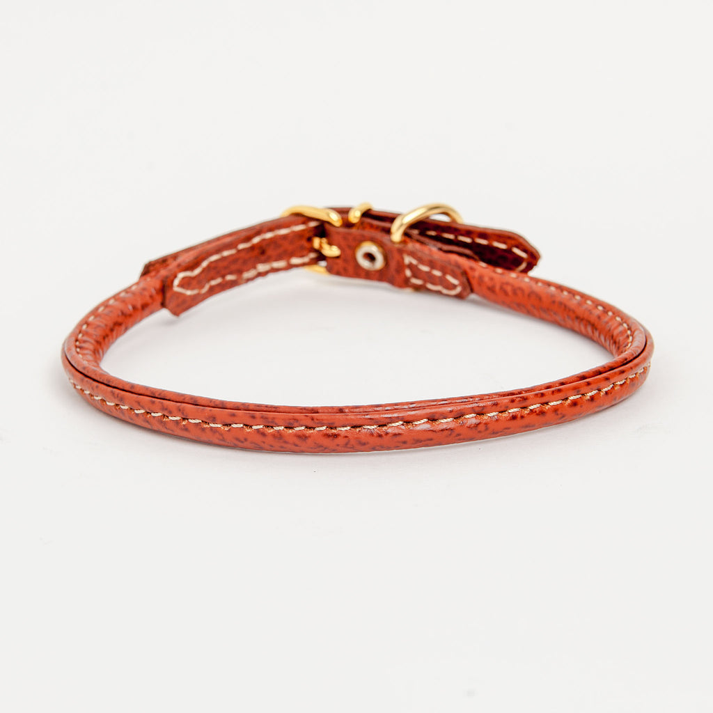 Italian Rolled Leather Dog Collar in Brown