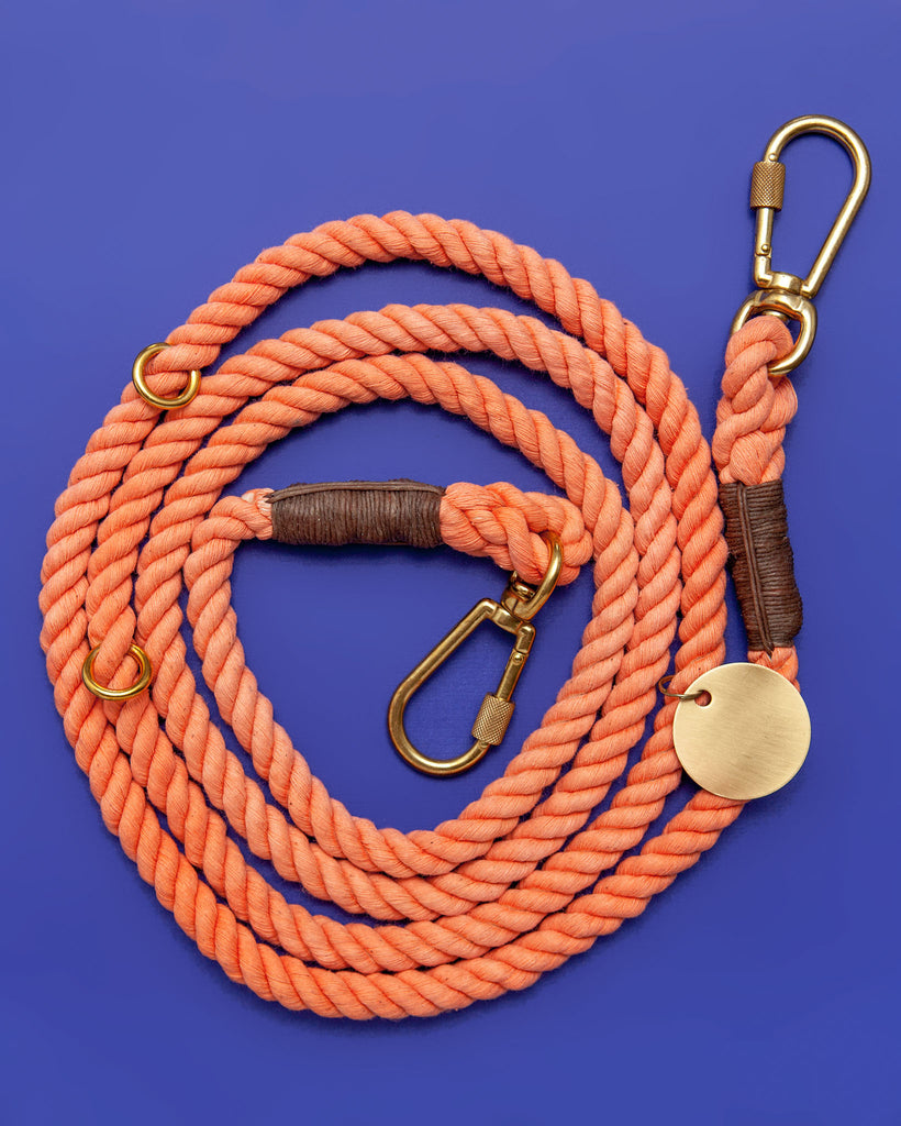 Adjustable Rope Lead in Peach